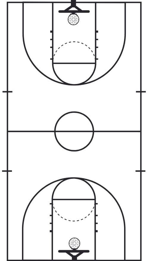 image regarding Basketball Court Diagram Printable called Large University Basketball Courtroom Measurement