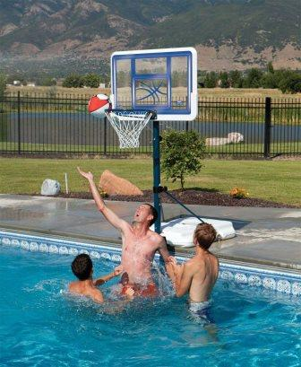 pool side height-adjustable basketball goal