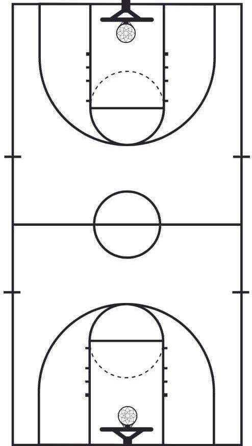 high school basketball court dimensions